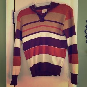 Vintage Striped Sweater with Collar Flap
